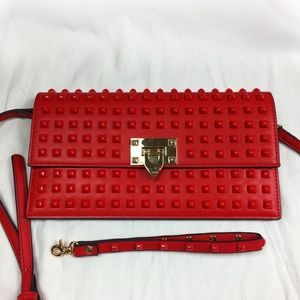 Slimfit Italy Clutch/Purse - Red, Studded.
